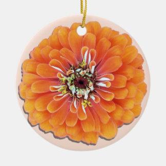 オーナメント-オレンジ《植物》百日草 陶器製丸型オーナメント