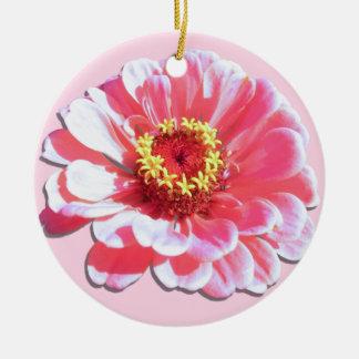 オーナメント-ピンクの《植物》百日草 陶器製丸型オーナメント