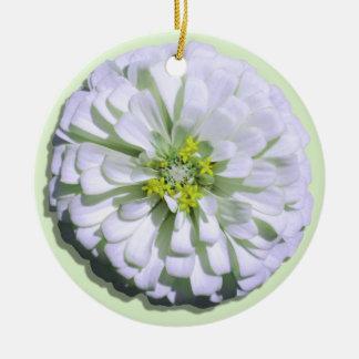 オーナメント-レモン味の白い《植物》百日草 陶器製丸型オーナメント