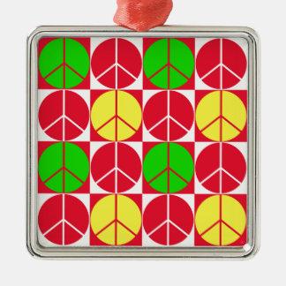 オーナメント、平和ラスタ、赤い黄色緑 メタルオーナメント