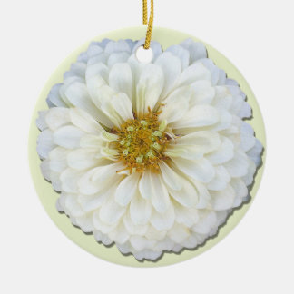 オーナメント-白い《植物》百日草 陶器製丸型オーナメント