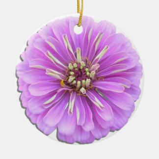 オーナメント-薄紫の《植物》百日草 陶器製丸型オーナメント