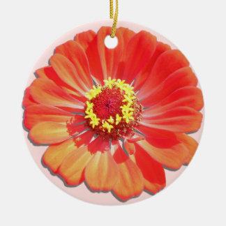 オーナメント-赤い《植物》百日草 陶器製丸型オーナメント