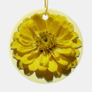 オーナメント-黄色い《植物》百日草 セラミックオーナメント