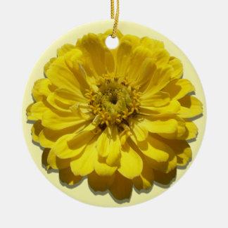 オーナメント-黄色い《植物》百日草 陶器製丸型オーナメント