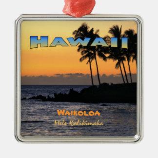 オーナメント: Waikoloa (優れた正方形)のたそがれ メタルオーナメント