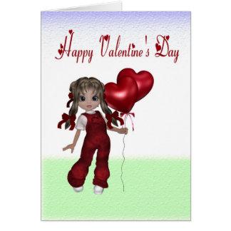 オーバーオールの人形のバレンタインカード カード
