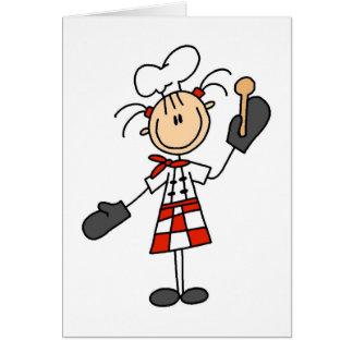 オーブンのミットのTシャツおよびギフトを持つメスのシェフ カード