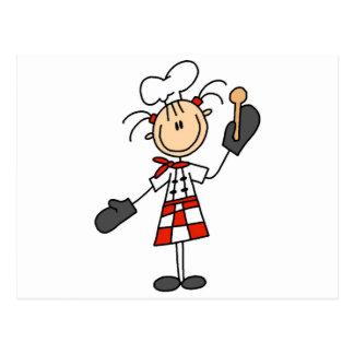 オーブンのミットのTシャツおよびギフトを持つメスのシェフ ポストカード