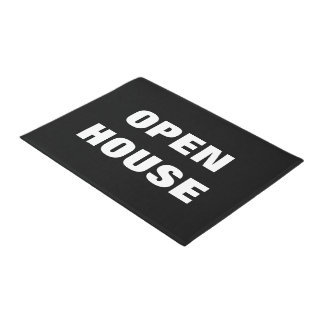 オープンハウスの玄関マット の白黒床の印 ドアマット