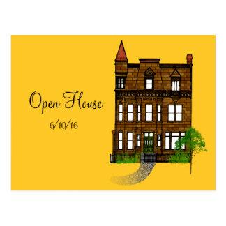オープンハウスまたはホームパーティの保存日付 ポストカード