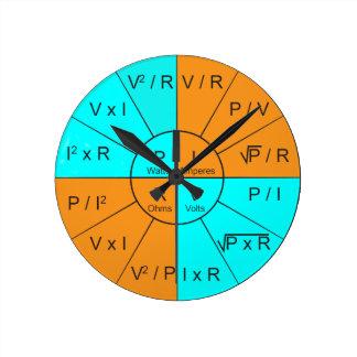 オームの法律の車輪 ラウンド壁時計