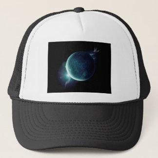 オーラおよび星が付いている宇宙の緑の惑星 キャップ