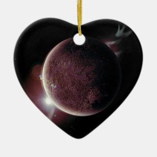 オーラおよび星が付いている宇宙の赤い惑星 セラミックオーナメント