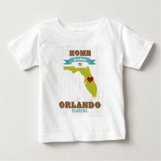 オーランド、フロリダの地図-ハートがあるところでがあります家 ベビーTシャツ