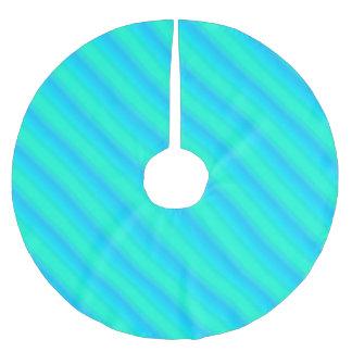 オーロラのストライブ柄-青、水、ターコイズ ブラッシュドポリエステルツリースカート