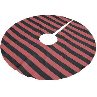 オーロラの赤い黒の平行のストライプのクリスマスの休日 ブラッシュドポリエステルツリースカート