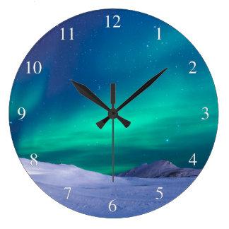 オーロラのNorthern Lightsの小さい数 ラージ壁時計