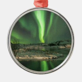 オーロラBorealisアイスランド シルバーカラー丸型オーナメント