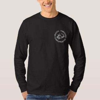 カイロプラクティックのロゴによって刺繍されるポロ 刺繍入り長袖Tシャツ