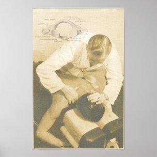 カイロプラクティックの背骨の調節のヴィンテージのプリント ポスター
