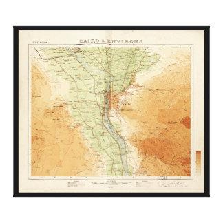 カイロ及び周辺のエジプト(1925年)の地図 キャンバスプリント