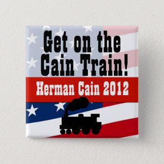 カインの列車、ヘルマンカイン2012ボタンで得て下さい 5.1CM 正方形バッジ