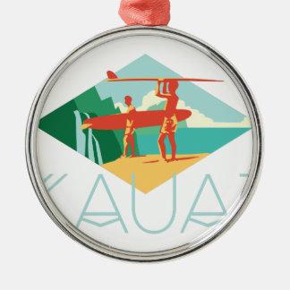 カウアイ島のサーファー メタルオーナメント