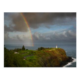 カウアイ島の郵便はがきの灯台上の虹 ポストカード