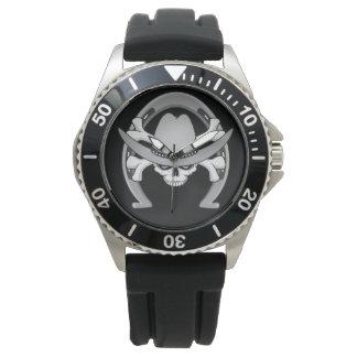 カウボーイのスカルの蹄鉄 腕時計