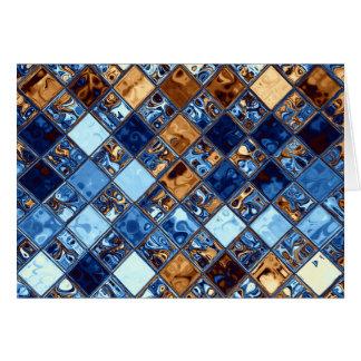 カウボーイのバンダナの青いモザイク模様のオリジナルの芸術 カード