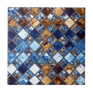 カウボーイのバンダナの青いモザイク模様のオリジナルの芸術 タイル