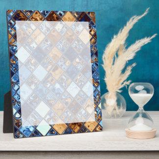 カウボーイのバンダナの青いモザイク模様のオリジナルの芸術 フォトプラーク