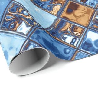 カウボーイのバンダナの青いモザイク模様のオリジナルの芸術 ラッピングペーパー
