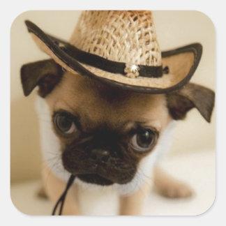 カウボーイのパグの子犬 スクエアシール