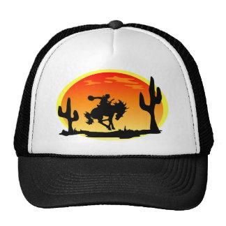 カウボーイのブロンコのシルエットの国家的記念日 帽子