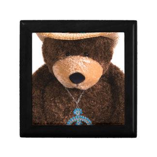 カウボーイの女性のカーボーイのテディー・ベアの西部のターコイズの帽子 ギフトボックス