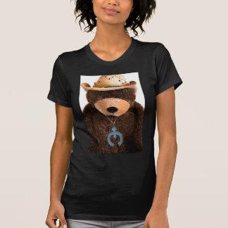 カウボーイの女性のカーボーイのテディー・ベアの西部のターコイズの帽子 Tシャツ