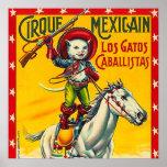 カウボーイ猫のメキシコサーカスのヴィンテージポスター芸術 ポスター