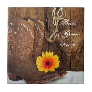 カウボーイ・ブーツ、デイジーおよび馬ビット国の結婚式 タイル