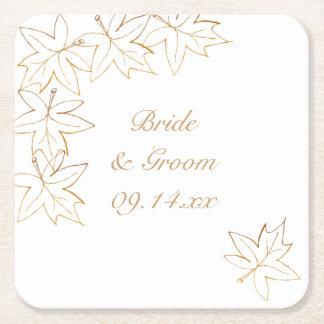 カエデの葉の端の結婚式 スクエアペーパーコースター