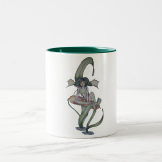 カエルおよびネコヤナギが付いている沼沢地の妖精のマグ ツートーンマグカップ