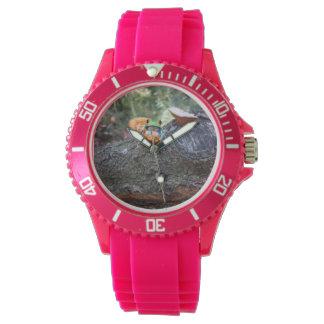カエルきのこ、_Ladies_Pink_Sports-Watch. 腕時計