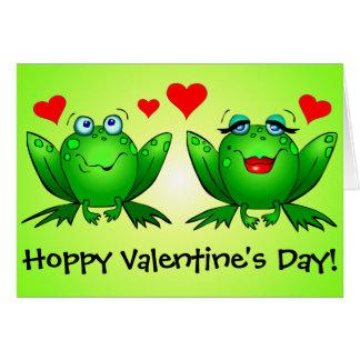 カエルのかわいくおもしろいでホップの豊富なバレンタインデー カード
