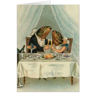"""""""カエルのためのロマンチックな夕食""""のヴィンテージカード グリーティングカード"""