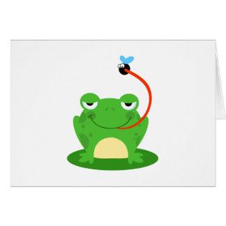 カエルのカエルの水陸両生的でおもしろいな虫の漫画動物 カード