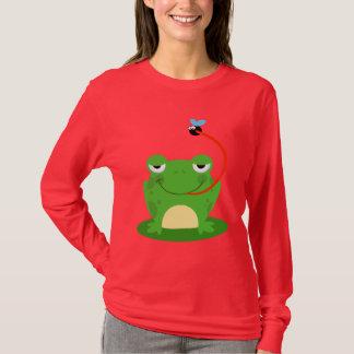 カエルのカエルの水陸両生的でおもしろいな虫の漫画動物 Tシャツ