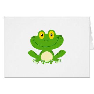 カエルのカエルの水陸両生的な緑のかわいい漫画動物 カード