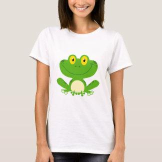 カエルのカエルの水陸両生的な緑のかわいい漫画動物 Tシャツ