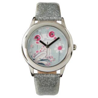 カエルのガーリーなピンクのかわいい 腕時計